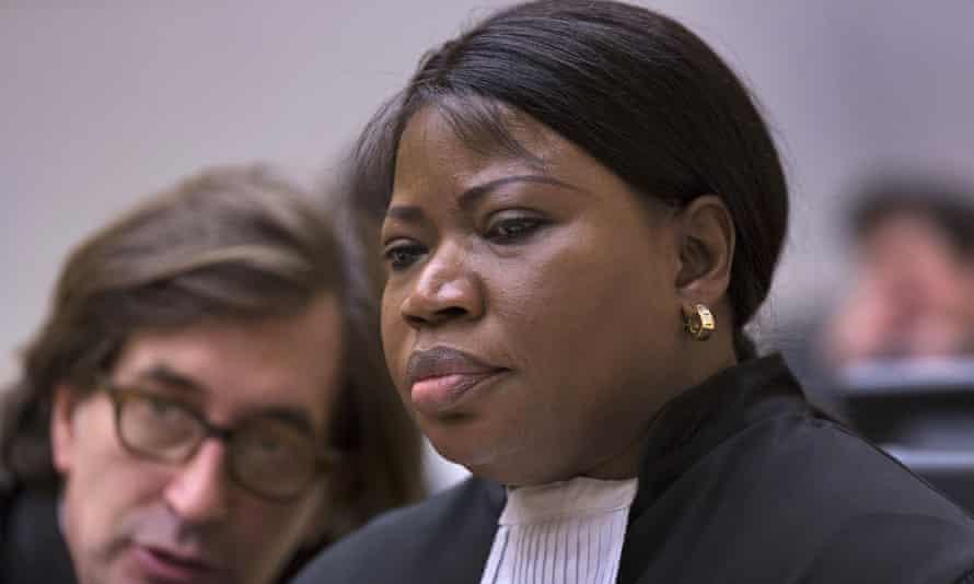 Fatou Bensouda in court, in formal legal costume