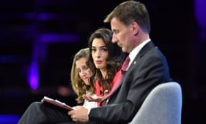 Jeremy Hunt (right) and Amal Clooney (centre) at the Global Conference for Media Freedom at The Printworks in London this afternoon.