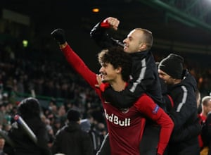 Salzburg's Andre Ramalho celebrates with Darko Todorovic at the end of the match.