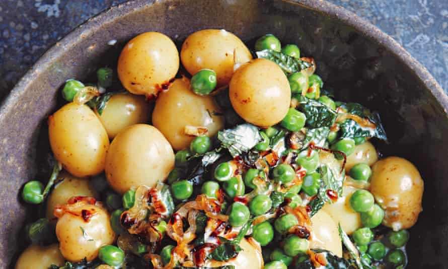 Peter Gordon's minted baby potatoes, peas and creme fraiche.