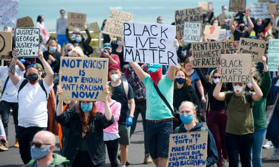 Protesters at a Black Lives Matter march in Margate.