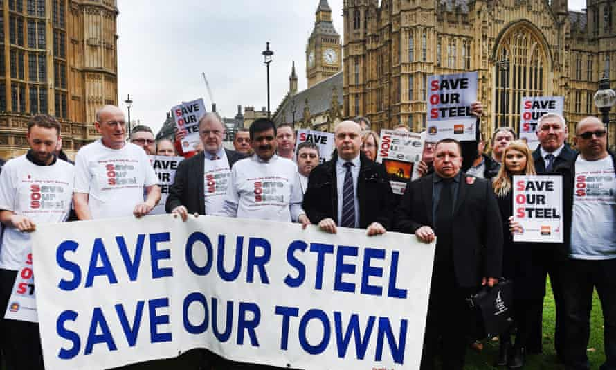 Steelworkers protest outside parliament in London.