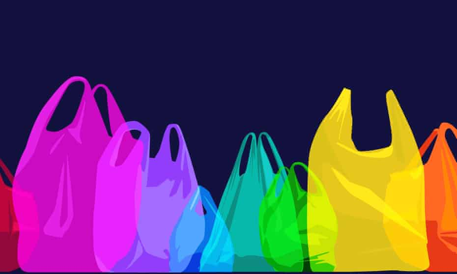 overlapping silhouettes of plastic shopping bags suggesting environmental issue