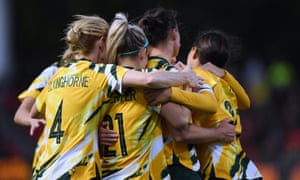 Matildas players celebrate