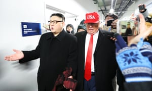 Impersonators of Donald Trump and Kim Jong-un are escorted out.