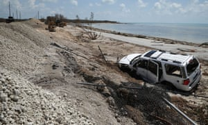 A car blown from the road in the Florida Keys