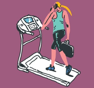 Woman on treadmill on mobile phone