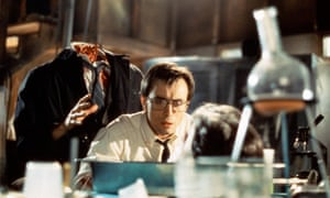 Jeffrey Combs as Herbert West in Stuart Gordon's horror comedy Re-Animator, 1986, based on a short story by HP Lovecraft.