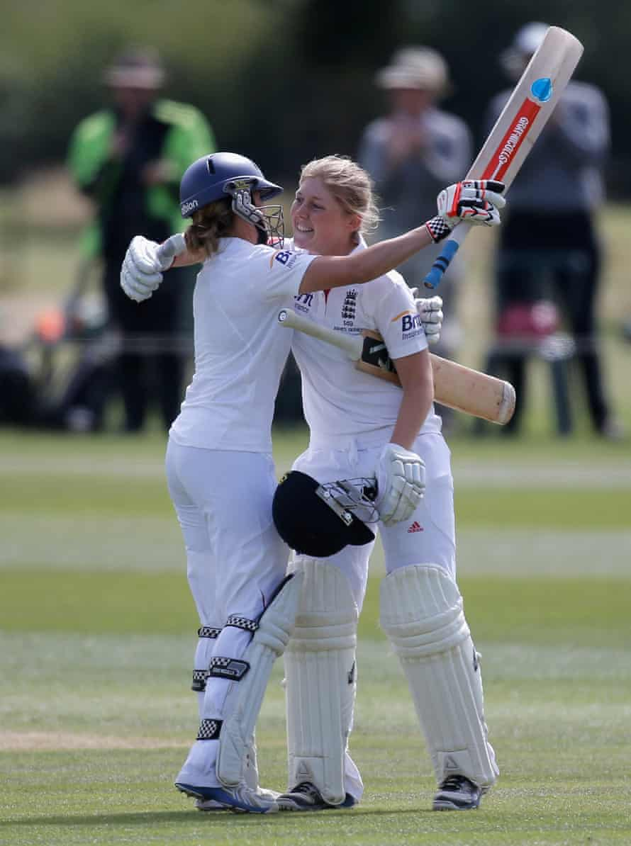Heather Knight of England (R) hugs teammate Laura Marsh after reaching her century during day three of the Women's Ashes Series match between England and Australia at Wormsley Cricket Ground on August 13, 2013 in High Wycombe, England.