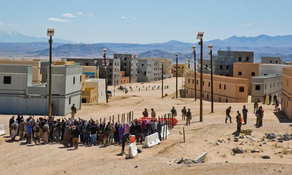 Training exercises in a replica town at the US Marine Corps base in Twentynine Palms, California.