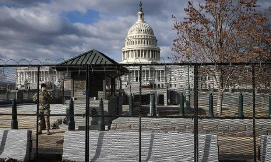 An eight-foot tall steel fence built around the US Capitol in the wake of the January 6 attack