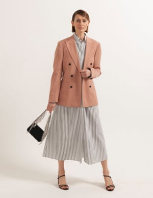 model wears dress, £345, by Raey, from matchesfashion.com. Blazer, £275, reiss.com. Sandals, £49, office.co.uk. Bag with rhinestones, £49.99, zara.com.