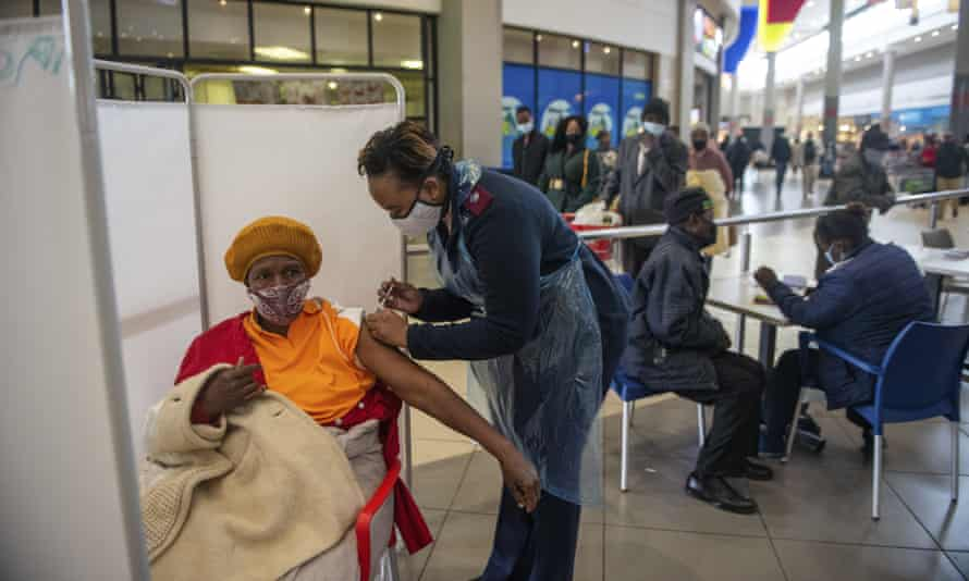 A patient receives a Johnson & Johnson Covid vaccine in South Africa, 6 July 2021.