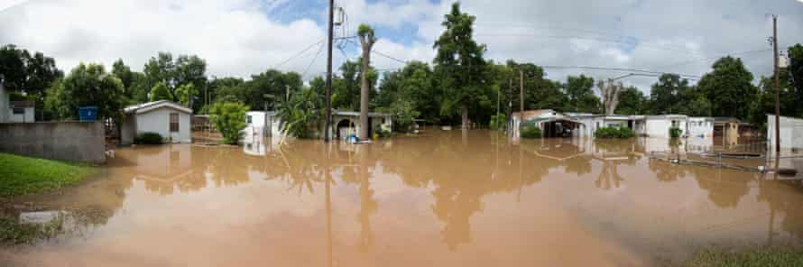 Homes and property are flooded due to heavy rains in Richmond, Texas in June 2016.