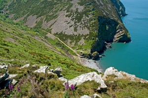Looking down into Heddons Mouth on Devons North coast.