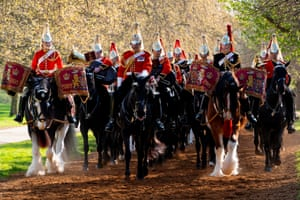 London,EnglandMembers of the Household Cavalry Mounted Regiment take part in the annual inspection in Hyde Park. The Major General's Inspection is the annual validation of the ability of the regiment to conduct State Ceremonial duties for the year.