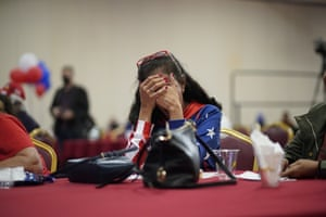 A Trump supporter at a Republican election night party in Las Vegas, Nevada