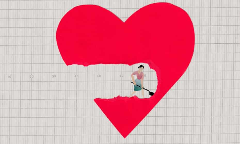 An illustration showing a woman digging a hole into a large heart.