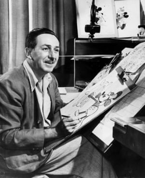 Walt Disney draws Mickey Mouse
