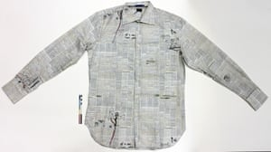 Paul Smith shirt featuring Guardian print from the front page of 9 April 1973, which reported the death of Picasso. The garment (cotton gent's shirt, double cuff, medium size) was produced 30 years later, and features manuscript text and illustrations laid over the newsprint. (GNM Archive ref: GUA/12/3/4)