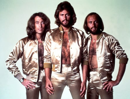 The Bee Gees – Robin, Barry and Maurice Gibb – in their 70s disco pomp.