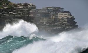 Sydney, Australia. Big waves hit the coast near Tamarama beach