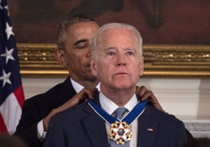 Barack Obama presents the Medal of Freedom to Joe Biden during a 12 January 2017 event at the White House