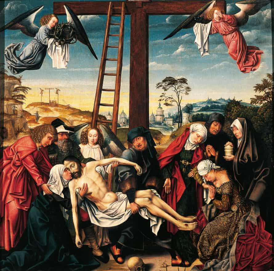 Jesus is taken off the cross in Pieta, by Rogier van der Weyden (1399-1464).