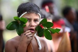 A boy from the kapa haka group