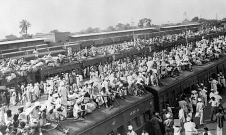 Trains carrying refugees fleeing between India and Pakistan at the border city of Amritsar, 1947