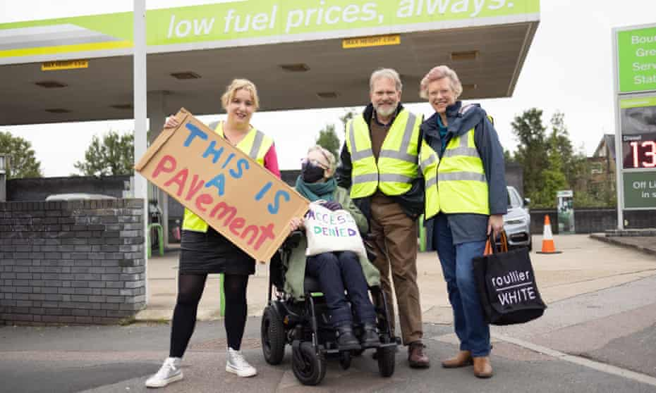 Carla Francome, Salli Booth with two fellow petrol queue protesters in Bounds Green, north London