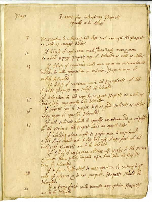 """John Locke manuscript """"Reasons for tolerateing Papists equally with others"""" - St. John's College, Greenfield Library Archives, Annapolis, Maryland."""