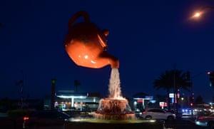 Temple City, California, USA Water flows from the Soaring Teapot sculpture in Temple City