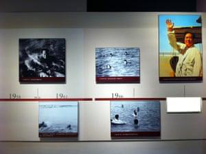 Exhibit commemorating Chairman Mao swimming across the Yangtze at Wuhan, Maos former residence, Wuchang.