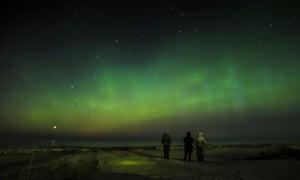 The scenery of aurora at Narva-Joesuu in northeastern Estonia