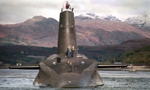 The Royal Navy's ageing nuclear submarine Vanguard, which carries the Trident nuclear missiles.