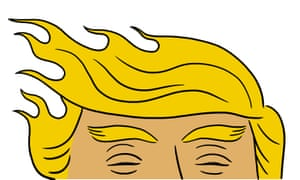 Trump hair on Fire & Fury Michael Wolff digested read illustration by Matt Blease