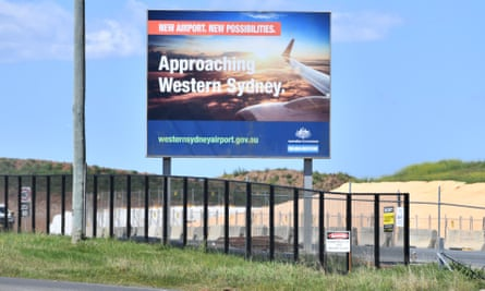 A sign at the Western Sydney airport site at Badgerys Creek