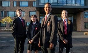 Pupils Glyn Harrington, Kaya Chauhan-Humphries, Cameron Matuvangua-Fernandez and Harriet Giles