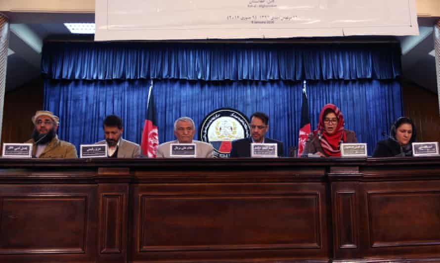 Leaders of the Afghan People's Dialogue on Peace initiative address a press conference in Kabul, Afghanistan, on Saturday.