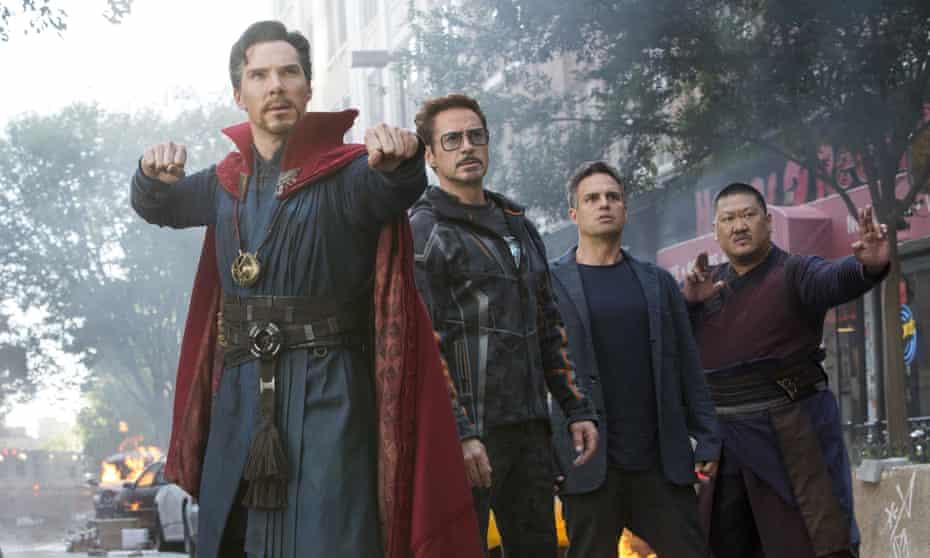 Benedict Cumberbatch, Robert Downey Jr, Mark Ruffalo and Benedict Wong in a scene from Avengers: Infinity War.