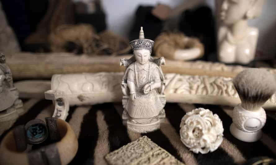 Ivory carvings seized at Heathrow in 2017.