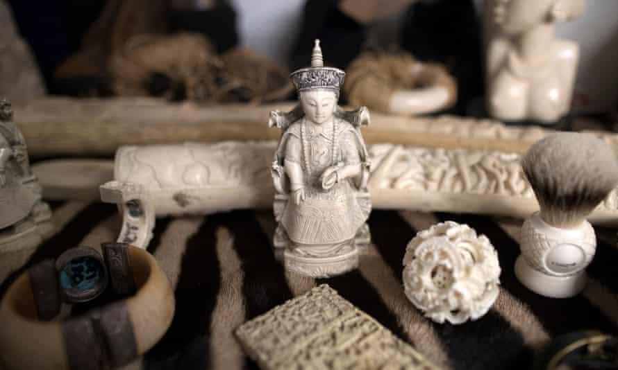 Ivory carvings seized by the UK Border Force at Heathrow Airport 2017