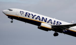 A Ryanair plane takes off from Manchester Airport.