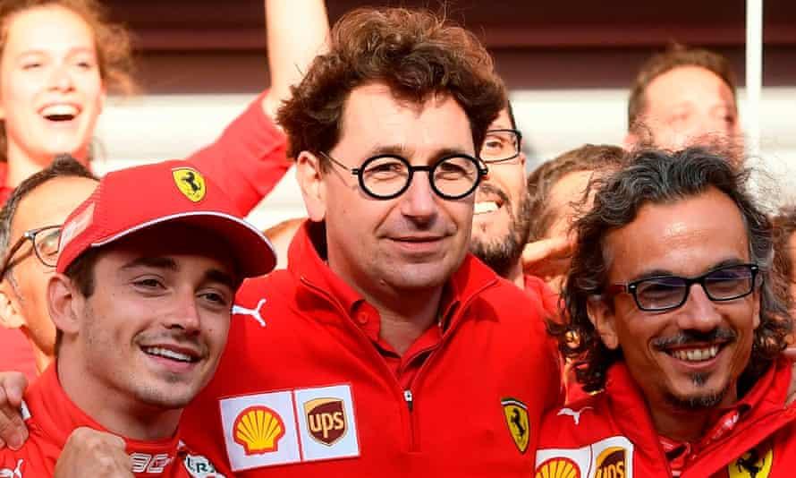 Mattia Binotto with Charles Leclerc and Ferrari team members after the Monegasque driver won the 2019 Belgian Grand Prix