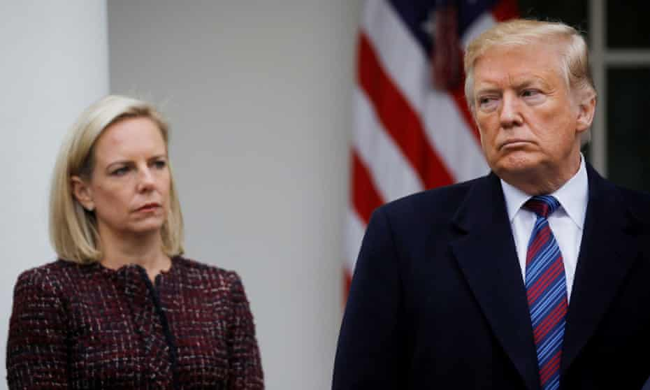 Former homeland security secretary Kirstjen Nielsen at the White House with Donald Trump in January 2019.