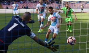 Lorenzo Insigne puts Napoli ahead from the penalty spot against Crotone.