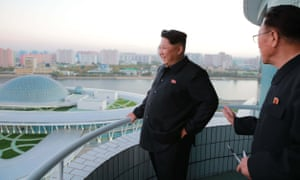 North Korean leader Kim Jong-un inspects a newly opened science and technology centre on the Ssuk islet in Pyongyang's Taedong River.