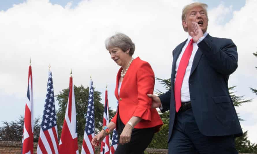 *** BESTPIX *** President Donald Trump And British Prime Minister Theresa May Hold Bi-lateral Talks At ChequersAYLESBURY, ENGLAND - JULY 13: Prime Minister Theresa May and U.S. President Donald Trump make their way to a joint press conference following their meeting at Chequers on July 13, 2018 in Aylesbury, England. US President, Donald Trump held bi-lateral talks with British Prime Minister, Theresa May at her grace-and-favour country residence, Chequers. Earlier British newspaper, The Sun, revealed criticisms of Theresa May and her Brexit policy made by President Trump in an exclusive interview. Later today The President and First Lady will join Her Majesty for tea at Windsor Castle. (Photo by Stefan Rousseau-WPA Pool/Getty Images) *** BESTPIX ***