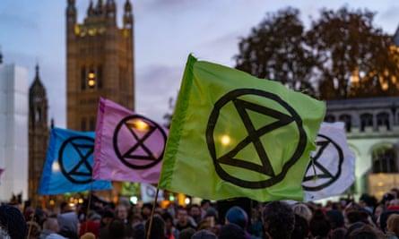 Extinction Rebellion protesters in Parliament Square